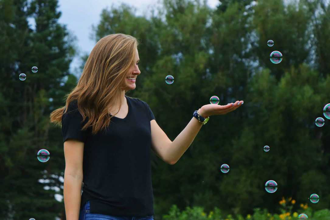 image of women in bubbles