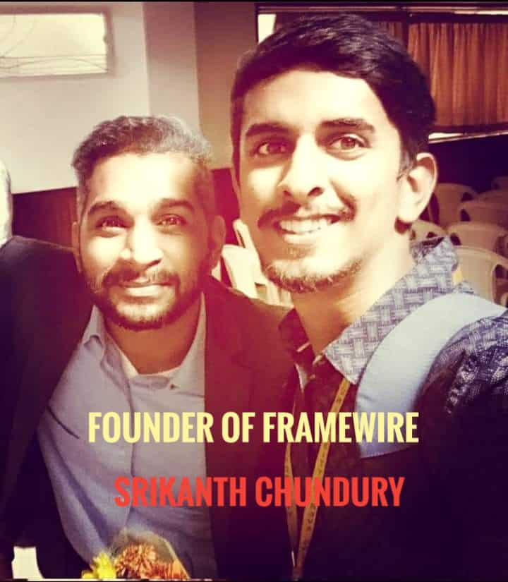 image of akshay rajsheakaran with founder of framewire