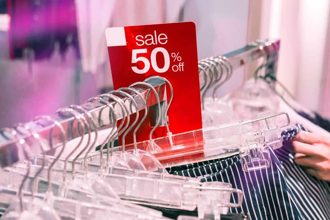 image represents 50 percent sale on clothes